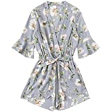 SweatyRocks Women's Boho Floral Print V Neck Beach Shorts Romper Jumpsuit with Belt Pale Blue S