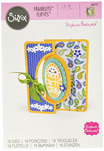 Sizzix 660715 Framelits Die Set Card, Scallop Oval Flip-Its, ()