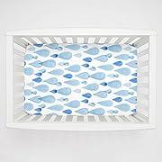 Carousel Designs Blue Watercolor Raindrops Mini Crib Sheet 5-Inch-6-Inch Depth - Organic 100% Cotton Fitted Mini Crib Sheet - Made in the USA