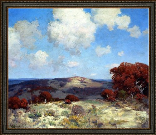 "Art Oyster Julian Onderdonk in The Hills of The Spanish Oaks - 20.05"" x 25.05"" Premium Canvas Print with Black Leather Look Frame"