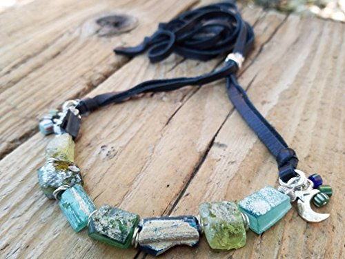 Ancient Roman Glass and Hill Tribe Silver Necklace
