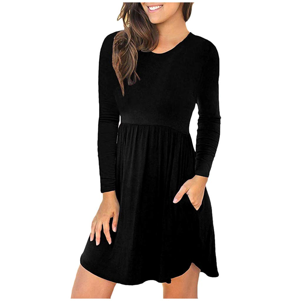 Dress for Women,Women's Fashion Long Sleeve Loose Plain Dresses Casual Short Dress with Pockets Black by Flow.month