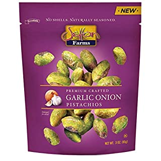Setton Farms Naturally Seasoned Pistachio Kernels, Garlic Onion, No Shell Pistachios, Certified Non-GMO, Gluten Free, and Kosher, 3 oz Resealable Pouch