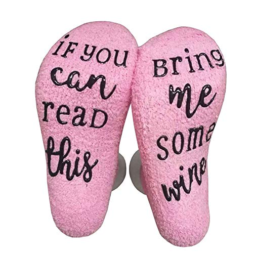 Bluelans If You Can Read This Bring Me Some Wine/Coffee Funny Socks with Gift Packaging Thermal Fuzzy Warm Cotton Socks for Women Novelty Romantic Birthday Gifts 1#