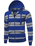 Style by William Basic Stripe Zip Up Side Pocket Hoodie Jacket Royal Blue M