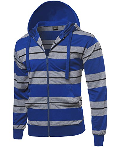 Style by William Basic Stripe Zip Up Side Pocket Hoodie Jacket Royal Blue M by Style by William