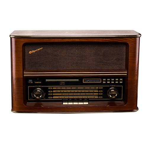 Roadstar HRA-1550USMP Nostalgie Retro-Radio mit CD / MP3 Player im Holzgehäuse, 28 Watt Musikleistung (USB, SD-Karten-Leser, AUX-In, Line-Out), braun