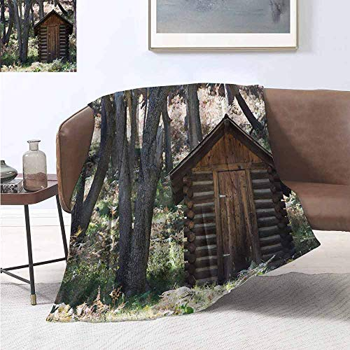 Pokemon Leaf Green Map (jecycleus Outhouse Commercial Grade Printed Blanket Wooden Primitive Life Barn Shed in Spring Forest Leaves Lumberjack Photo Queen King W70 by L84 Inch Dark Brown and)