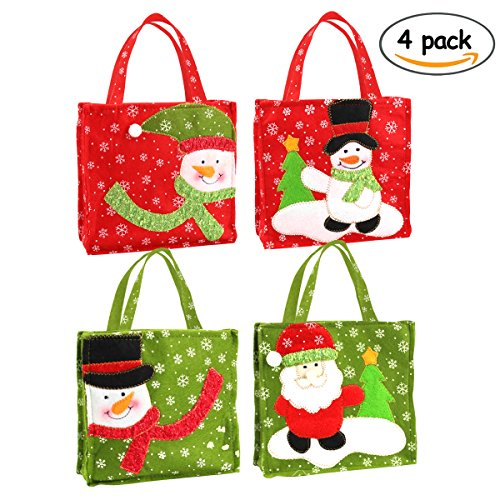 Christmas Tote Gift Bags Set of 4 with Featuring Santa Claus and Snowman for Xmas Present and Candy Bags(Christmas)