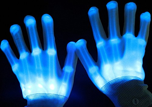 Miraclekoo LED Light-Up Skeleton Hand Knit Gloves Party Light Show Gloves For Clubbing, Rave, Birthday, EDM, Disco, Christmas, Halloween And Dubstep Party,Blue