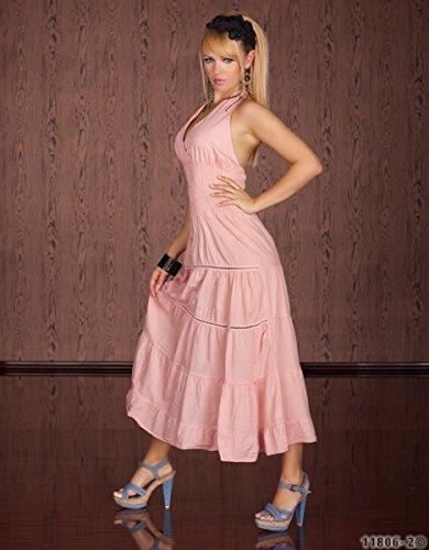 Maxikleid Neckholder langes Kleid Sommerkleid Lachs Rosa Baumwolle ...