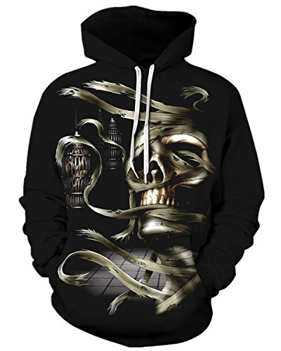 [Pattrily Unisex Realistic 3D Print Halloween Pullover Outdoor Hooded Sweatshirt,S/M,Skull] (90s Couple Costumes)
