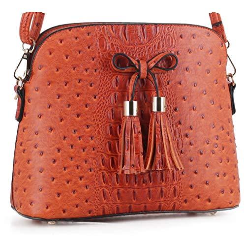 SG SUGU Ostrich Pattern Lightweight Medium Dome Crossbody Bag with Bow Tassel | Orange