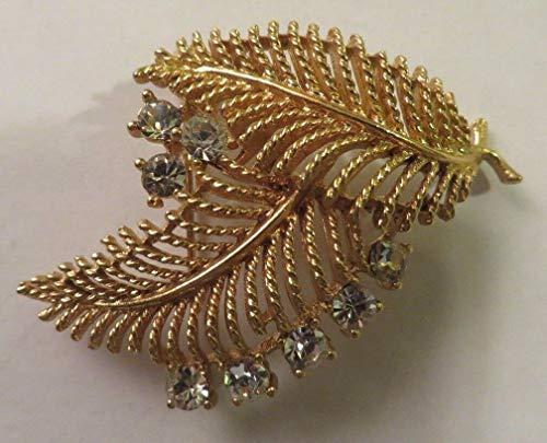 Vintage Goldtone LISNER Brooch or Pin 2 Fern Leaves w Clear Rhinestones BEAUTY