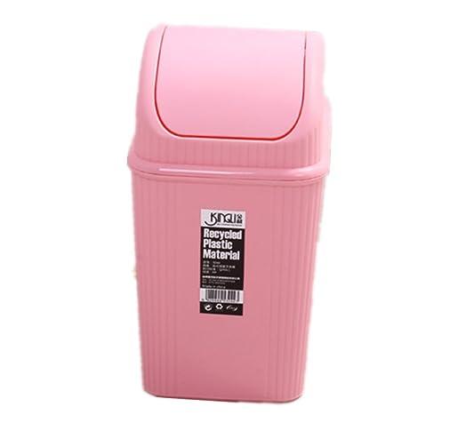 Moolecole Fashion Creative Pink Plastic Trash Bin Table Office Desk Mini  Dustbin Trash Can