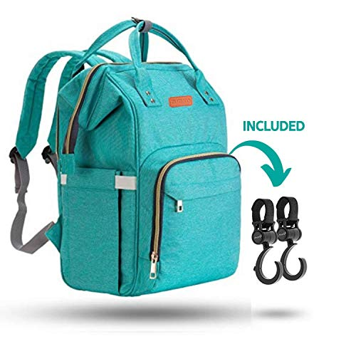 ZUZURO Diaper Bag Backpack - Waterproof w/Large Capacity & Multiple Pockets for Organization. Ideal for Travel Nappy Bags - W/Insulated Bottle Pocket. 2 Stroller Hooks Incl. (TURQUOISE)