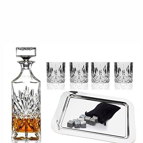 Godinger Silver Art Dublin Collection Crystal Whiskey Bourbon Bar Set With 1 Decanter, 6 Dof Glasses, 12 Granite Whiskey Stone Cubes And 1 Rectangular Silver Plated (Silver Plated Decanter)
