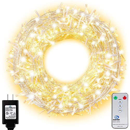 Ollny Outdoor String Lights 800 LEDs 330ft Fairy String Lights for Outdoor Indoor Christmas with Remote Control and Timer Plug in Wedding Party New Year Wall Decorative Lights Warm White 8 Modes Water (Best Lights For Outdoor Christmas Decorations)