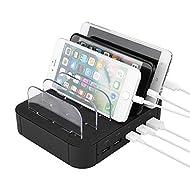 Station de chargement USB 5 ports Dock, Mbuynow Multi Port Chargeur de téléphone cellulaire Organiseur de périphérique de bureau pour plusieurs appareils, Support de charge multi-périphériques pour iphone, ipad, tablette et plus