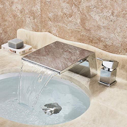 Zxyan 蛇口 立体水栓 タップデッキは滝流域の水栓シングルハンドルデュアルホールクロム浴室の浴槽シンクミキサータップの真鍮の滝スパウト蛇口をマウント トイレ/キッチン用