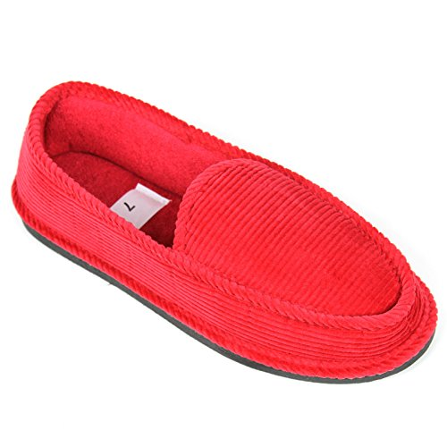 Slippers Loafers Corduroy House Shoes on Slip Red Moccasins Men's zwfxSAg