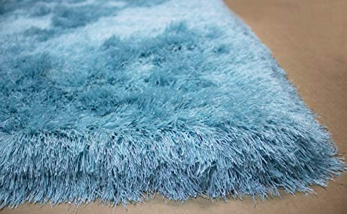 Light Blue Sky Blue Baby Blue Colors 5 x7 Feet Shag Shaggy Solid Fuzzy Furry Decorative Designer Modern Contemporary Area Rug Carpet Rug Bedroom Living Room Hand Woven Plush Pile Soft