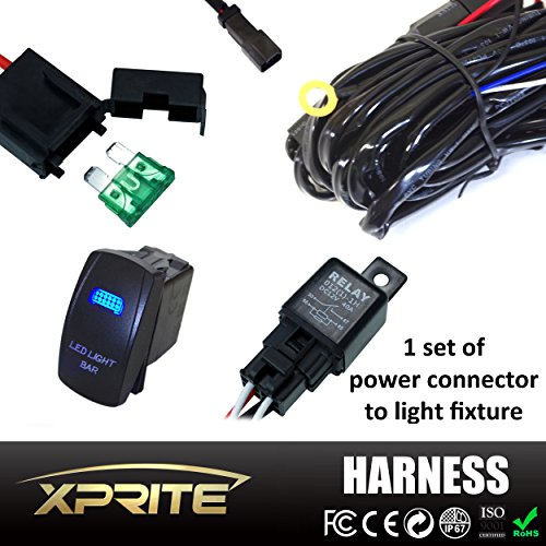 Xprite 1 Leg Off Road ATV/Jeep LED Light Bar Wiring Harness 12 Voltage - 40 Amp Relay ON/OFF Switch For LED Work Light Lamp & LED Work Light Bar Lamp Relay