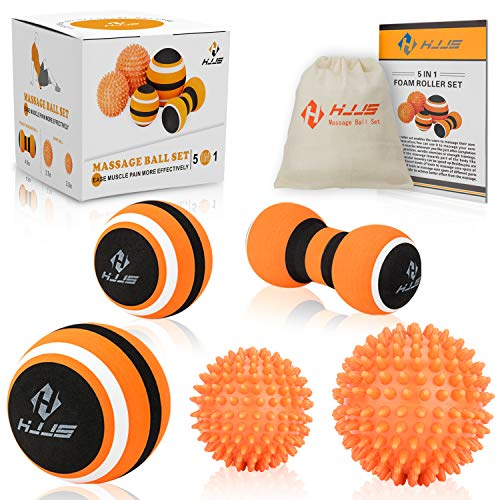 HJJS Massage Ball Set for Myofascial Release, Trigger Point Therapy, Muscle Knot Remover and Plantar Fasciitis with Instruction Book. (Set of 5)
