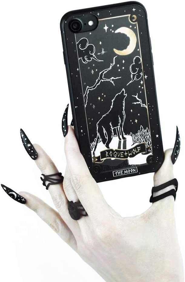 Rogue + Wolf Moon Tarot Card Phone Case with Metallic Gold Mirror Details Compatible with iPhone 6 6S 7 8 Cases Wiccan Goth