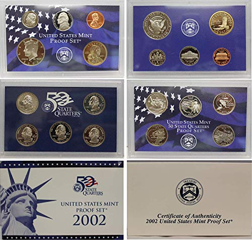 AT 2002 10-Coin Proof Set with Penny, Nickel, Dime, 5-State Quarters, Half and Dollar Beautiful Proof Set in OGP with COA