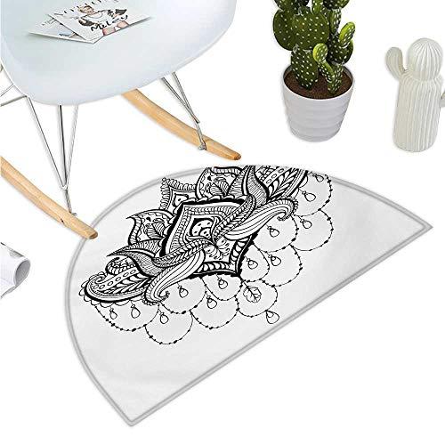 - Henna Semicircular Cushion Ethnic Zentengle Tattoo Style Ornamental Lotus Flower Japanese Culture Inspired Art Halfmoon doormats H 23.6