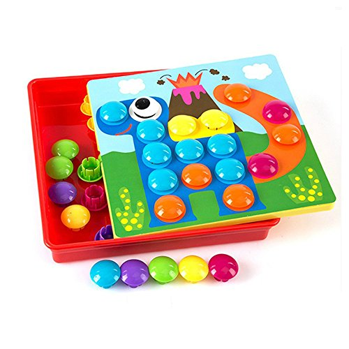 3D Puzzles Toys For Children Composite Picture Puzzle Creative Mosaic Mushroom Nail Kit Educational Toys Art Kids (Mosaic Tray Puzzle)