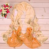 Onlineb2c Women Chiffon Long Scarf Lotus Birds Floral Soft Wrap Shawl Orange