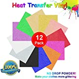 """Glitter Heat Transfer Vinyl, Permanent Adhesive Backed Vinyl Sheets Assorted Colors - 12 Pack of 12 x 10"""" Sheets Adhesive Vinyl Iron-On Transfer"""
