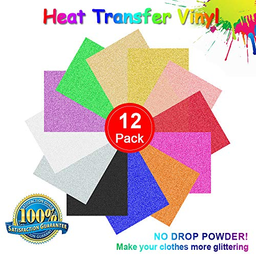 (Glitter Heat Transfer Vinyl, Permanent Adhesive Backed Vinyl Sheets Assorted Colors - 12 Pack of 12 x 10
