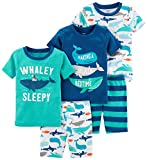 Carter's Boys' Toddler 5-Piece Cotton Snug-Fit Pajamas, Whale, 3T