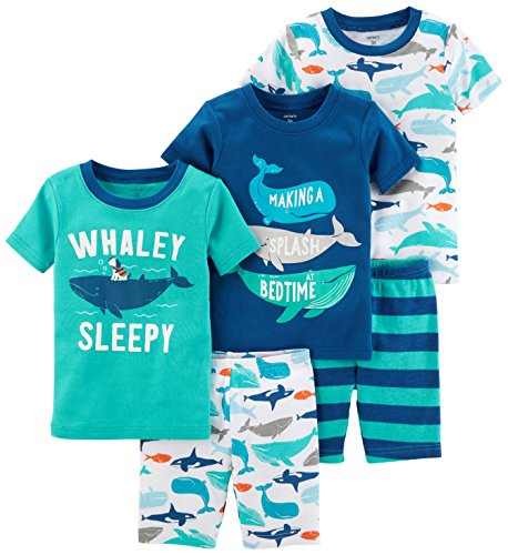 Carter's Boys' Toddler 5-Piece Cotton Snug-Fit Pajamas, Whale, (Boys Pjs)