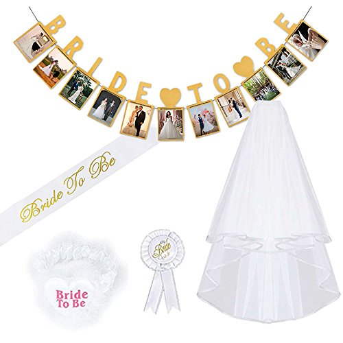 Hen Party Decoration Supplies,MMTX Bridal Wedding Party with Bride Veil,Sash,Lace Garter,Rosette Badge and Banner 5 pcs Accessories for Bachelorette Party Bridal Shower Hen Night Party