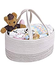 Baby Diaper Caddy Organizer, Cotton Rope Nursery Storage Bin with Removable Compartments Portable Baby Storage Basket for Changing Table Car Organizer Ideal Gift for Newborn Family
