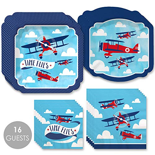 (Taking Flight - Airplane - Vintage Plane Baby Shower or Birthday Party Tableware Plates and Napkins - Bundle for 16)