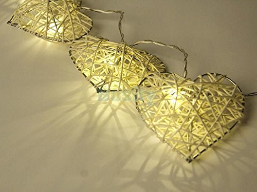 "10LED Assorted Shaped LEDs Battery Operated String Lamp Fairy Lights Wedding Decors ""Filigree Heart"" Set16"