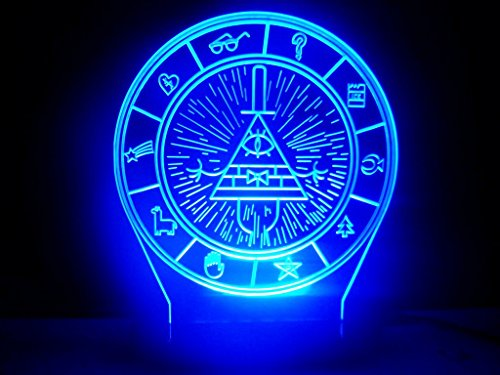 Gravity Falls Bill Cipher Wheel Secrets Map Led Night
