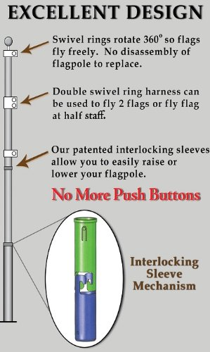 15' Telescoping Silver TITAN Flagpole w/ Flag by Flagpole Country (Image #2)