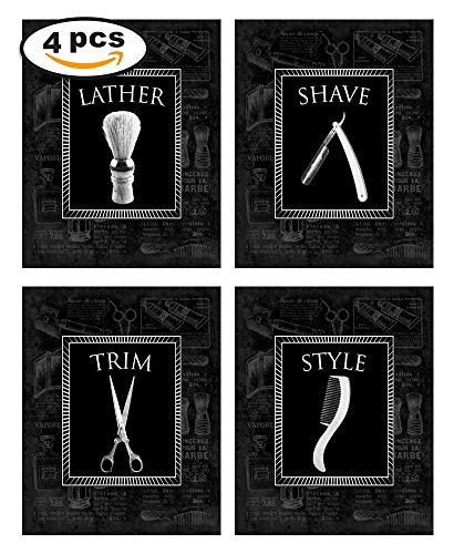 Wallables Black-on-Black Vintage Barbershop Theme! Lather, Shave, Trim, Style! Four Stylish 8x10 Mens Wall Decor Art Prints Set Great for Bathroom, Barbershop, Bachelor Pad Designed Exclusively