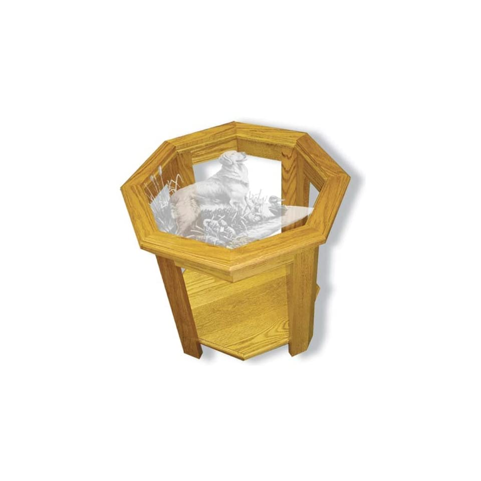 Etched Glass Golden Retriever Dog in Solid Oak Octagon End Table