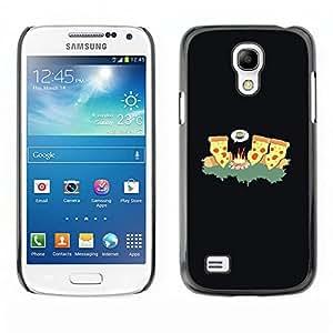Qstar Arte & diseño plástico duro Fundas Cover Cubre Hard Case Cover para SAMSUNG Galaxy S4 mini VERSION! / i9190 / i9192 ( Cheese Pizza Ninja Art Fire Forest Junk Food)