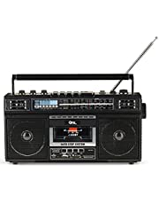 QFX ReRun X Cassette Player Boombox with 4-Band Radio, MP3 Converter, and Bluetooth (J-220BT)