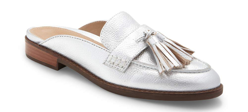 061d09e41c Vionic Women's Wise Reagan Mule with Tassels - Ladies Backless Slide with Concealed  Orthotic Support Silver 5 M US