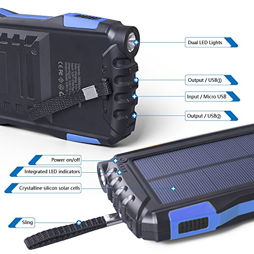 Elzle 25000mAh easily transportable Solar potential Bank 2 USB result Battery Bank with potent LED light Outdoor Solar Charger cel External Battery Shockproof Dustproof for iPhone SeriesSmart PhoneMore Solar Chargers