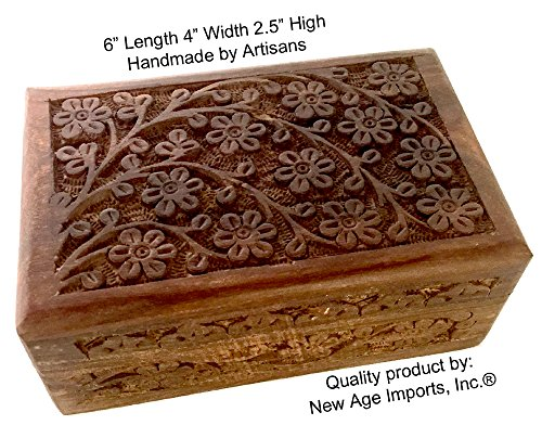 GIFT IDEAS~ Floral Carved Handmade Wooden Box 4 inches by 6 inches~Ideal for storing Jewelry, Coins, Tartot cards, Small Treasures, URN Box & etc by New Age Imports, Inc. (Floral Carved 4